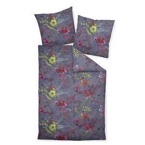 Janine Bettwäsche makosatin anthrazit, grün, lila, rot, hellgrün 135/200 cm , Moments 98063-06 , Textil , Floral , 135x200 cm , Makosatin , bügelfrei, pflegeleicht, atmungsaktiv, hautfreundlich,