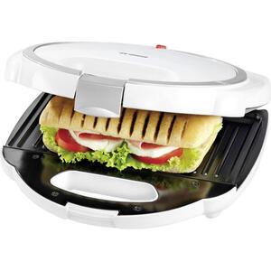 Trisa Electronics Sandwichtoaster tasty toast , Tasty Toast , Schwarz, Weiß , Kunststoff , 24x6x24 cm , Aufwärm- und Bereitschaftsanzeige, Antihaftbeschichtung, Bräunungsgrad regulierbar, rutschfe
