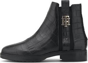 Tommy Hilfiger, Chelsea-Boots Croco Look in schwarz, Stiefeletten für Damen
