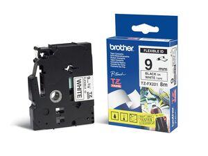 brother Schriftband TZe FX221 lam., flex. Schwarz auf Weiß 9mm x 8m