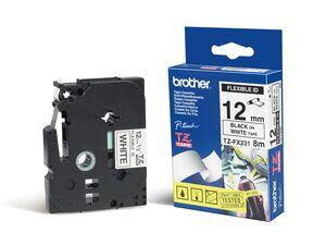 brother Schriftband TZe FX231 lam., flex. Schwarz auf Weiß 12mm x 8m