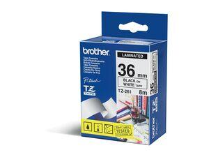 brother Schriftband TZe 261 lam. Schwarz auf Weiß BxL 36mm x 8m