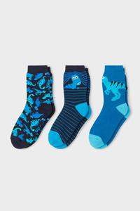 C&A Dino-Socken-3 Paar, Blau, Größe: 24-26