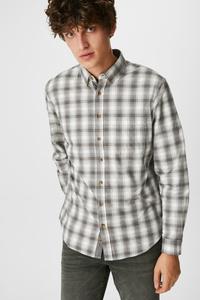 C&A Hemd-Regular Fit-Button-down-kariert, Weiß, Größe: XXL