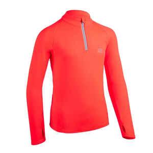 Laufshirt langarm Leichtathletik warm 1/2 Zip AT 100 Kinder neonkoralle