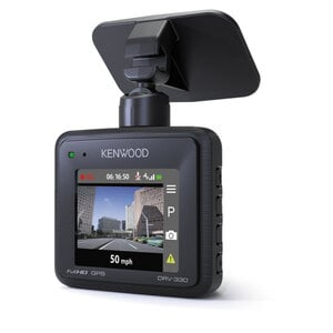 Kenwood Dashcam DRV-330, kompakte Full-HD Autokamera mit GPS, 111° Aufnahmewinkel, 2-Zoll-Vollfarb-LCD