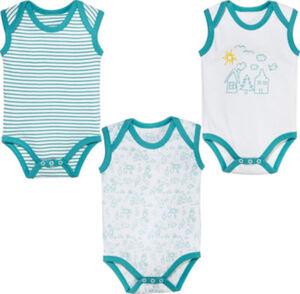 Erwin Müller Interlock-Jersey Baby-Body ohne Arm im 3er-Pack  Streifen ohne Arm 50 / 56