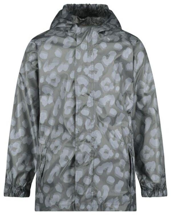 HEMA Kinder-Regenjacke, Faltbar, Leopardenmuster Grau