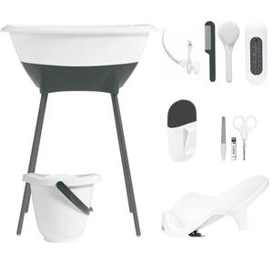 XXXLutz Luma badewanne und pflegeset , L10401 , Anthrazit, Weiß , Metall, Kunststoff , 40x46x79.5 cm , glänzend , 008296008301
