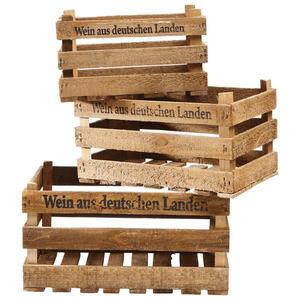 XXXLutz Weinkisten-set 3-teilig , 1152-1002 , Braun , Holz , stapelbar , 0046040287