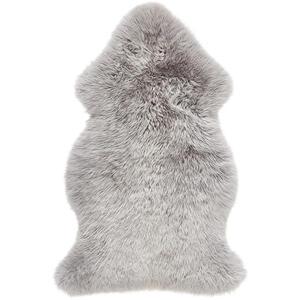 Linea Natura Schaffell 60/95 cm grau , Adelaide , Fell , Tier , 60x95 cm , für Fußbodenheizung geeignet, in verschiedenen Größen erhältlich, zigarettenglutbeständig, waschbar, pflegeleicht, str