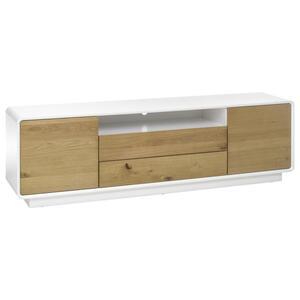 Livetastic Lowboard eiche, eukalyptusholz furniert, teilmassiv, hartholz weiß, eichefarben , Toulon , Holzwerkstoff , 2 Fächer , 2 Schubladen , 188x55x40 cm , matt, lackiert,lackiert,Echtholz, Nach
