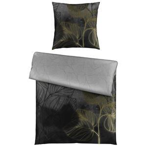 Ambiente Bettwäsche satin anthrazit 135/200 cm , Neyla , Textil , Floral , 135x200 cm , Satin , 005397018402