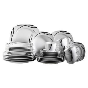 XXXLutz Porzellan kombiservice 30-teilig , 30-Tlg. Oslo , Weiß , Keramik , Streifen , 240 ml,240 ml , glänzend , 0031750172