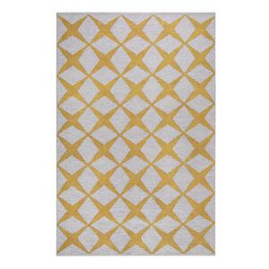 Esprit Flachwebeteppich 190/290 cm gelb, sandfarben , Caledon , Textil , Graphik , 190x290 cm , für Fußbodenheizung geeignet, in verschiedenen Größen erhältlich, für Hausstauballergiker geeigne