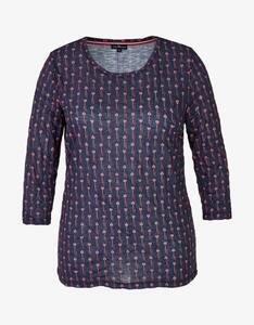 Via Cortesa - Shirt mit Allover-Druck und Crinkle-Effekt