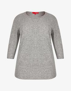 Thea - Shirt in Melange-Optik mit Zierausschnitt