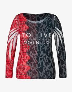 MY OWN - gemustertes Shirt mit Letterprint und Ziersteinen