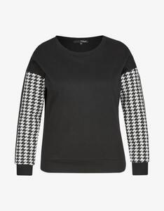 MY OWN - Sweatshirt mit Hahnentrittmuster an Ärmeln