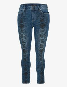 MY OWN - Denim-Jeans-Hose mit Schlangen-Print