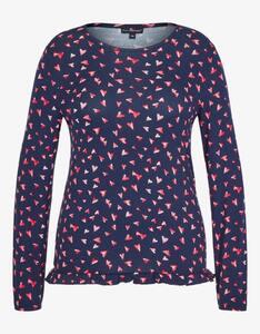 Via Cortesa - anschmiegsames Shirt mit Herzdruck und Volantsaum