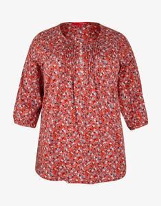 Thea - Shirt mit Blumenprint und Zierfalten am Ausschnitt