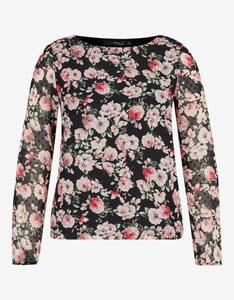 MY OWN - transparente Chiffon-Bluse mit Rosendruck