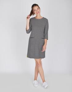 Via Cortesa - Jersey-Streifen-Kleid mit aufgesetzten Taschen