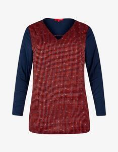 Thea - Blusenshirt mit Punktedruck, Satin-Jersey-Mix