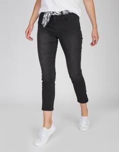 MY OWN - Jeans-Hose mit Chiffongürtel im Zebra-Look