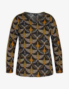 Bexleys woman - Bluse mit Tunika-Ausschnitt und Samtbesatz