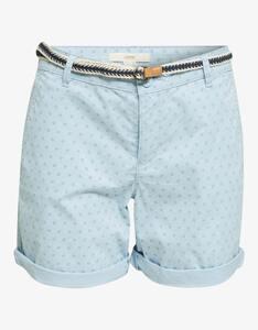Esprit - Baumwoll-Shorts mit Blümchen-Print und Flechtgürtel