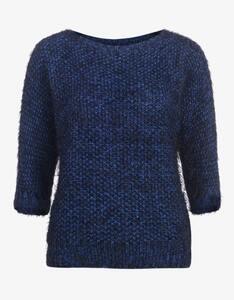Viventy - Strukturstrick-Pullover mit Fransengarn, Fledermausärmel