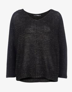 MY OWN - Struktur-Strick-Pullover mit Goldfaden und Fledermausärmeln