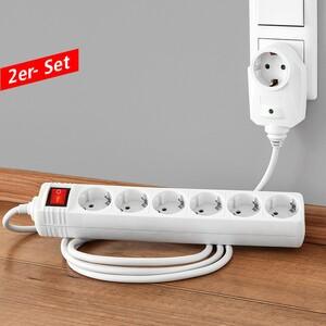 Powertec Electric 6-fach Tischsteckdose - 2er-Set