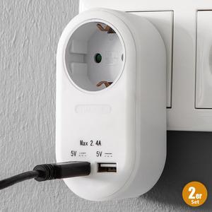 Powertec Electric Steckdosen-Adapter - 2er-Set