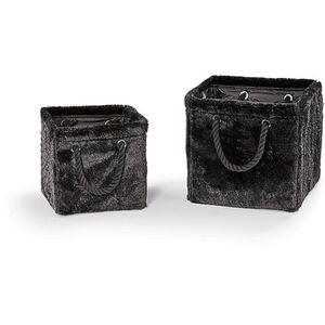 Aufbewahrungskörbchen mit Fell 2er, schwarz