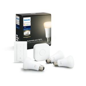 Philips Hue Starter-Set 'Hue White' inkl. 3 x LED-Lampe E27 9,5 W und Dimmschalter