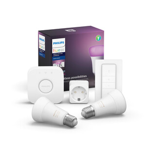 Philips Hue Starter-Set 'Hue White & Color Ambiance' inkl. 2 x LED-Lampe E27 806 lm, Dimmschalter, SmartPlug & Bridge