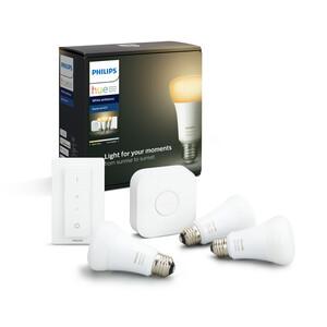 Philips Hue Starter-Set 'Hue White Ambiance' inkl. 3 x LED-Lampe E27 9,5 W und Dimmschalter