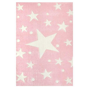 XXXLutz Kinderteppich 140/140 cm rosa, weiß , Stars , Textil , Stern , 140x140 cm , für Fußbodenheizung geeignet, in verschiedenen Größen erhältlich , 007397001263