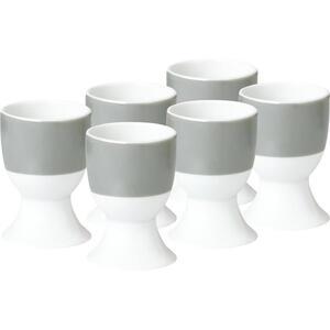 XXXLutz Eierbecherset keramik porzellan 6-teilig , 1348116 , Grau, Weiß , 6.5 cm , 004343024508