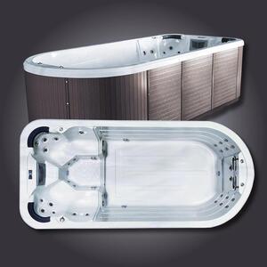 XXXLutz Whirlpool swimspa boston 4 braun, weiß , Swimspa Boston , Metall , 220x135x480 cm , Nachbildung , 0050010008