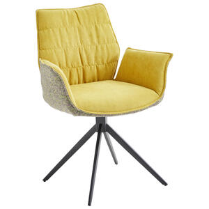 Novel Armlehnstuhl mikrofaser gelb, schwarz , Happy , Metall , 65x63x88 cm , Mikrofaser , Sitzfläche 360° drehbar , 002727005002