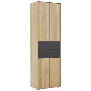 Valnatura Garderobenschrank kerneiche vollmassiv anthrazit, eichefarben , Lavia , Holz , 2 Fächer , 60x196x39 cm , pulverbeschichtet,matt, lackiert, gebürstet, gewachst,Echtholz , Beimöbel erhält