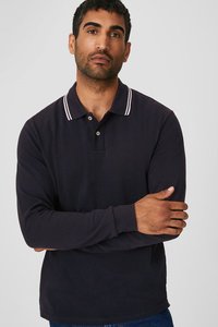 C&A Basic-Poloshirt-Bio-Baumwolle, Blau, Größe: M