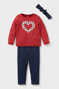 C&A Baby-Outfit-Bio-Baumwolle-3 teilig, Rot, Größe: 98