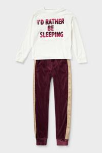 C&A Fleece-Pyjama-2 teilig, Weiß, Größe: 176