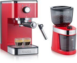 "Graef Espressomaschine ""Salita Set"", inkl. Kaffeemühle CM 203 (ES403EUSET), rot"