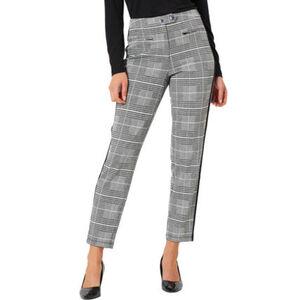 MANGUUN Collection Hose, Glencheck-Karo-Muster, Galonstreifen, Stretchkomfort, für Damen